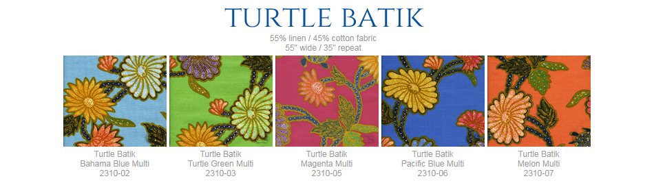 China Seas Turtle Batik fabric group