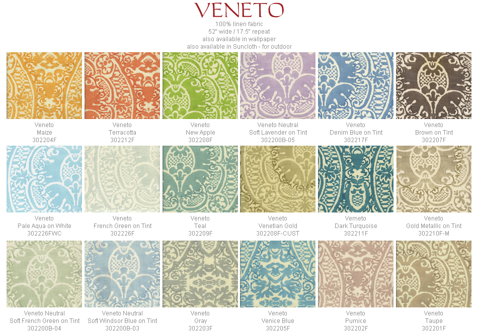 Quadrille Veneto fabric group