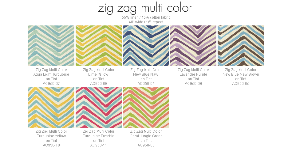 Alan Campbell Zig Zag Multicolor fabric group