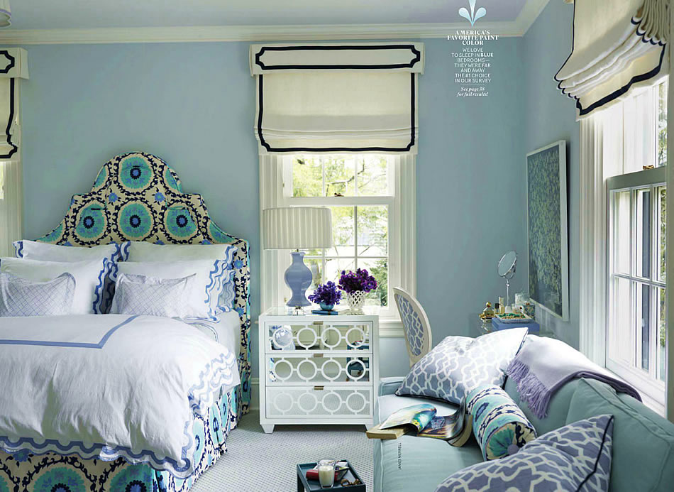 House beautiful sue at home for Beautiful bedroom paint designs